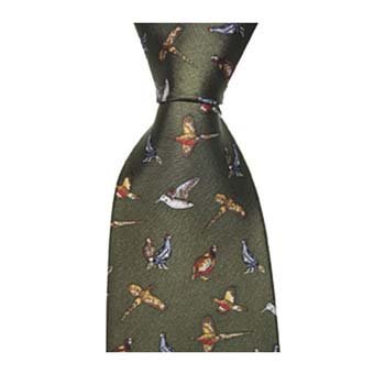 Green Gun Birds Patterned Tie