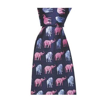 Navy And Pink Elephant Tie