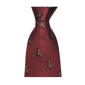 Red Flying Pheasant Patterned Tie