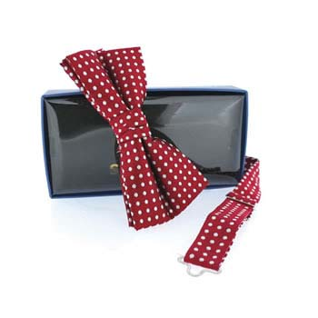 Red And White Polka Dot Pre Tied Bow Tie