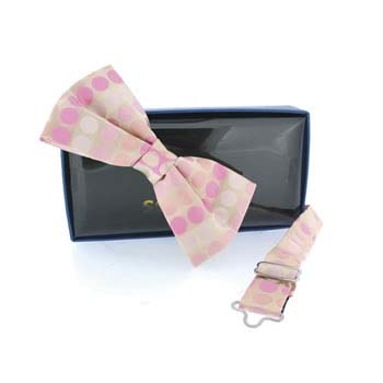 Pink And Cream Spot Pre Tied Bow Tie