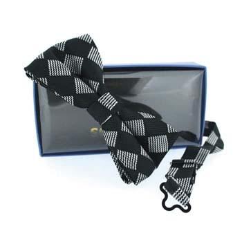 Black Check Diamond Pre Tied Bow Tie