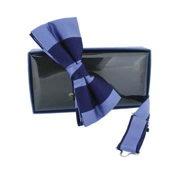Blue Stripe Pre Tied Bow Tie