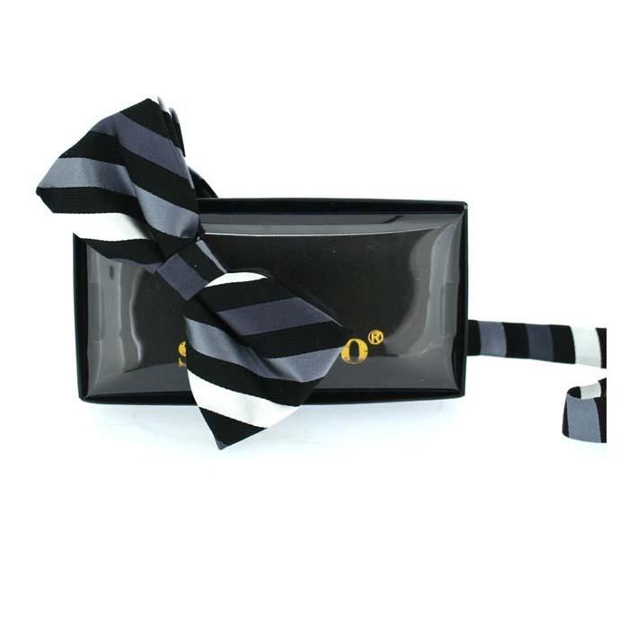 Black And Grey Stripe Pre Tied Bow Tie