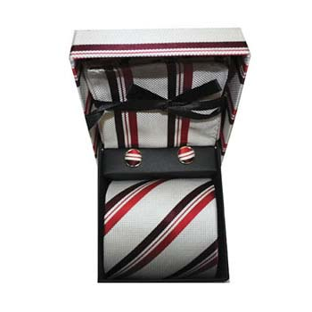 Red And White Stripe Cufflinks Tie And Hankie Gift Box