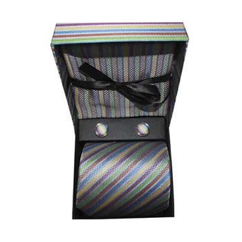 Multi Coloured Stripe Cufflink Tie And Hankie Gift Box