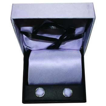 Lilac Cufflink Tie And Hankie Gift Box