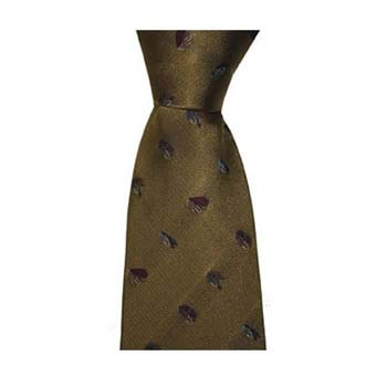 Gold Fishing Hook Patterned Tie