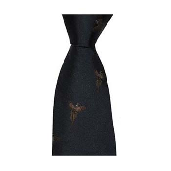 Navy Flying Pheasant Patterned Tie