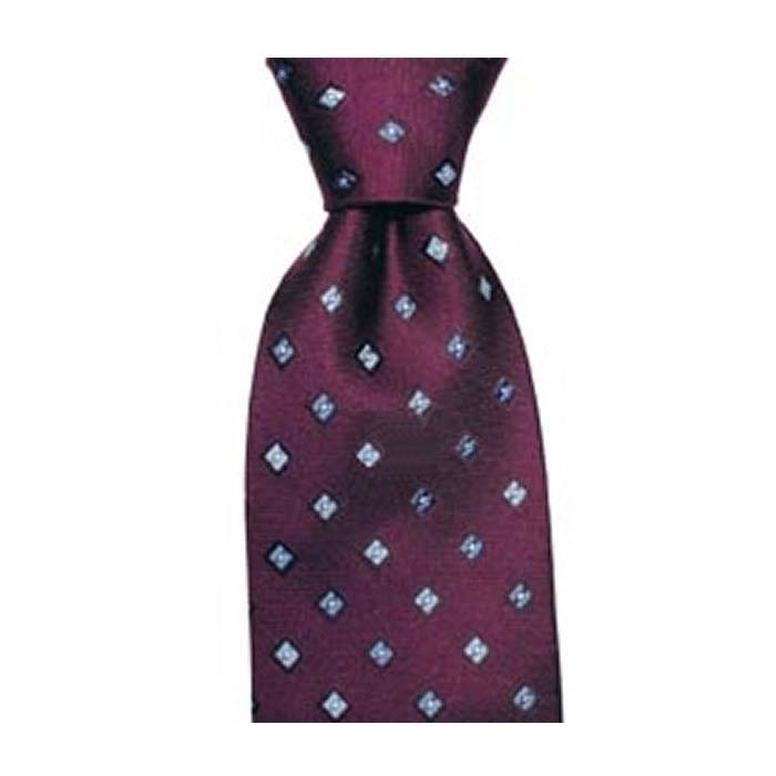 Burgundy And Blue Small Square Spot Tie