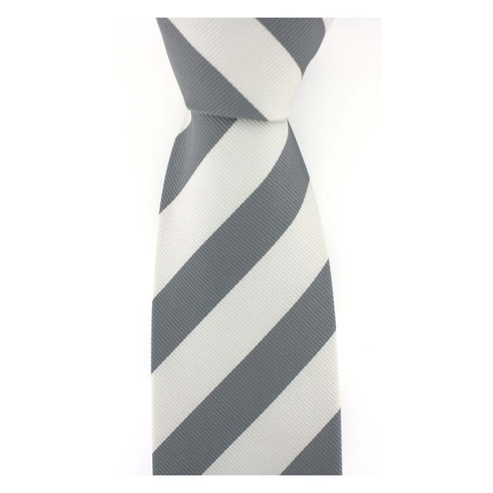 Grey And White Wide Stripe Tie
