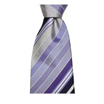 Silver And Purple Shaded Stripe Tie