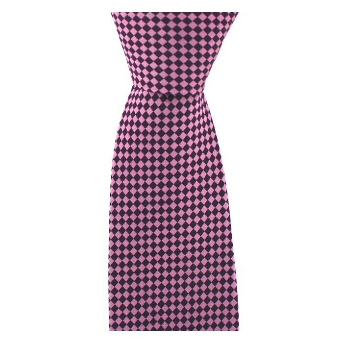 Pink And Black Checkered Diamond Tie