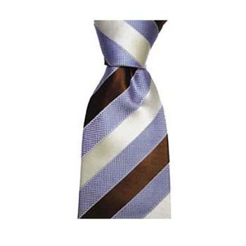 Blue And White Wide Stripe Tie