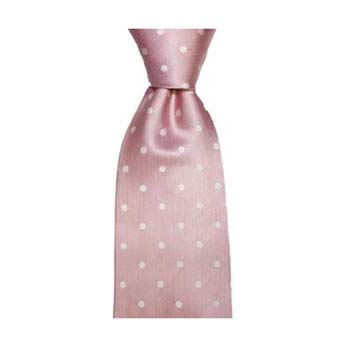 Pink And Cream Medium Polka Dot Tie