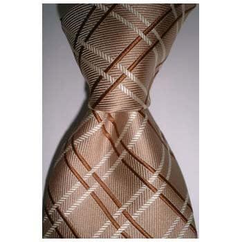 Brown Chequered Stripe Tie