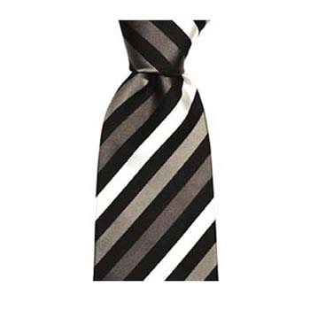 Black And Beige Stripe Tie