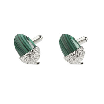 Malachite Acorn Cufflinks