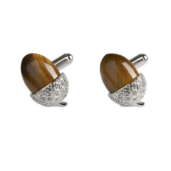 Tigers Eye Acorn Cufflinks