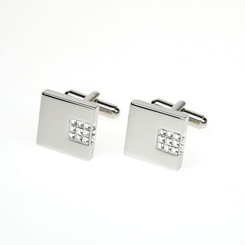 Clear Crystal Inset Square Cufflinks
