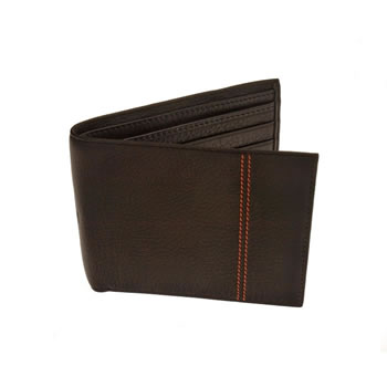 Brown Double Cinnamon Stitch Jeans Wallet