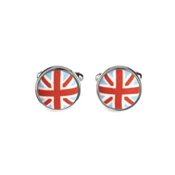 Union Jack Fabric Button Cufflinks