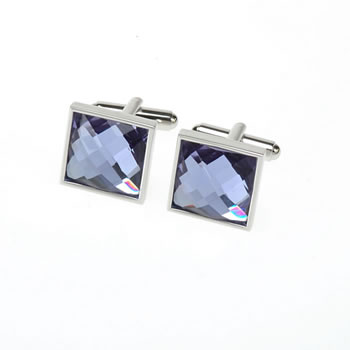 Crystal Facet Purple Square Cufflinks