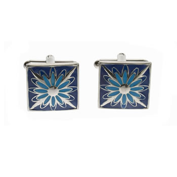 Blue And Turquoise Flower Cufflinks