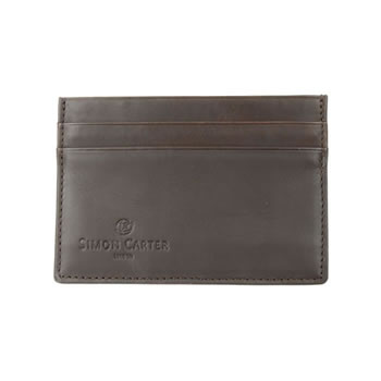 Brown Plain Leather Credit Card Holder