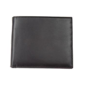 Black Plain Leather Jeans Wallet