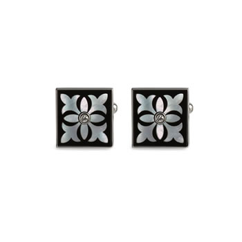 Onyx Pugin Tile Cufflinks