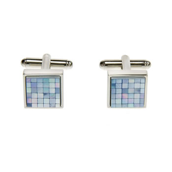 Small Squares Check Blue Mother Of Pearl Cufflinks
