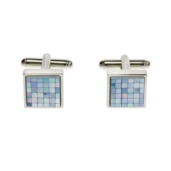 Blue Mother Of Pearl Small Square Chequer Cufflinks