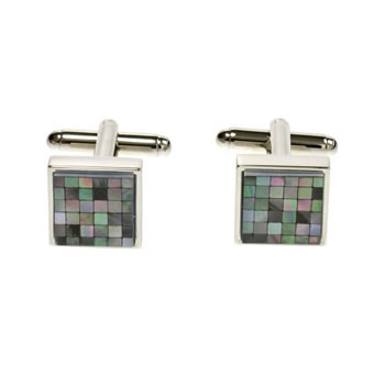 Grey Mother Of Pearl Small Square Chequer Cufflinks