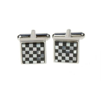 Onyx And Mother Of Pearl Small Square Chequer Cufflinks