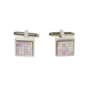 Pink Mother Of Pearl Small Square Chequer Cufflinks