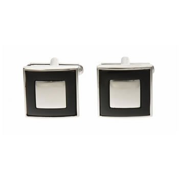 Square Moat Onyx Cufflinks