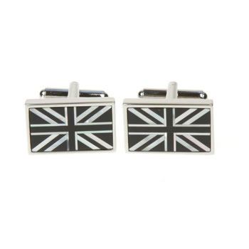 Onyx And Mother Of Pearl Union Jack Cufflinks