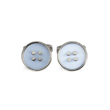 Light Blue Button Cufflinks