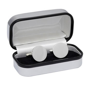 Round Silver Plated Style Cufflinks