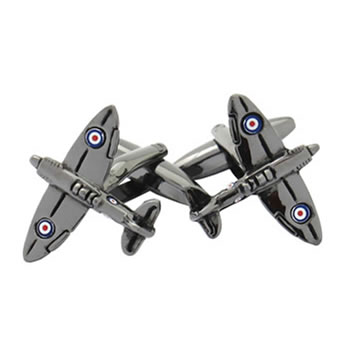 Gunmetal Fighter Plane Cufflinks