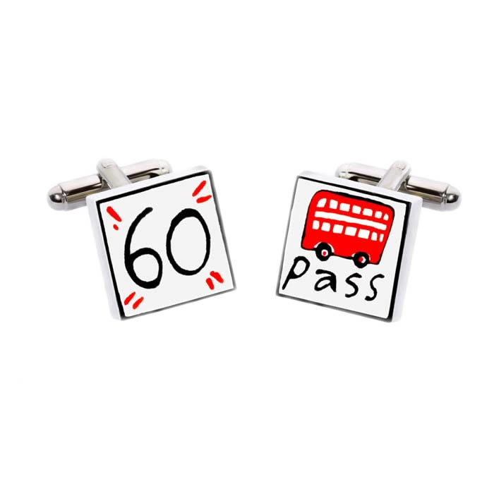 60 Bus Pass Cufflinks