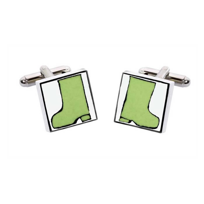 Green Wellies Square Cufflinks