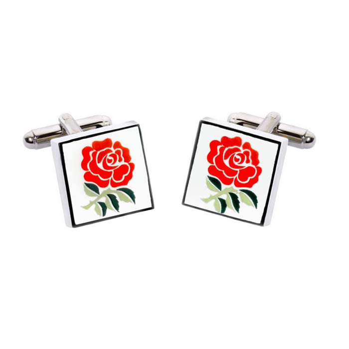 Square Red Rose Cufflinks