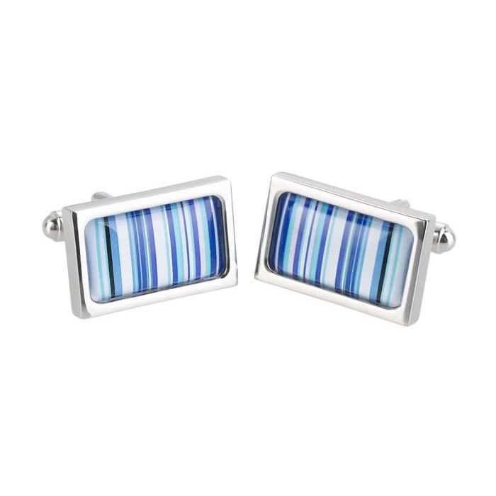 Blue Barcode Cufflinks