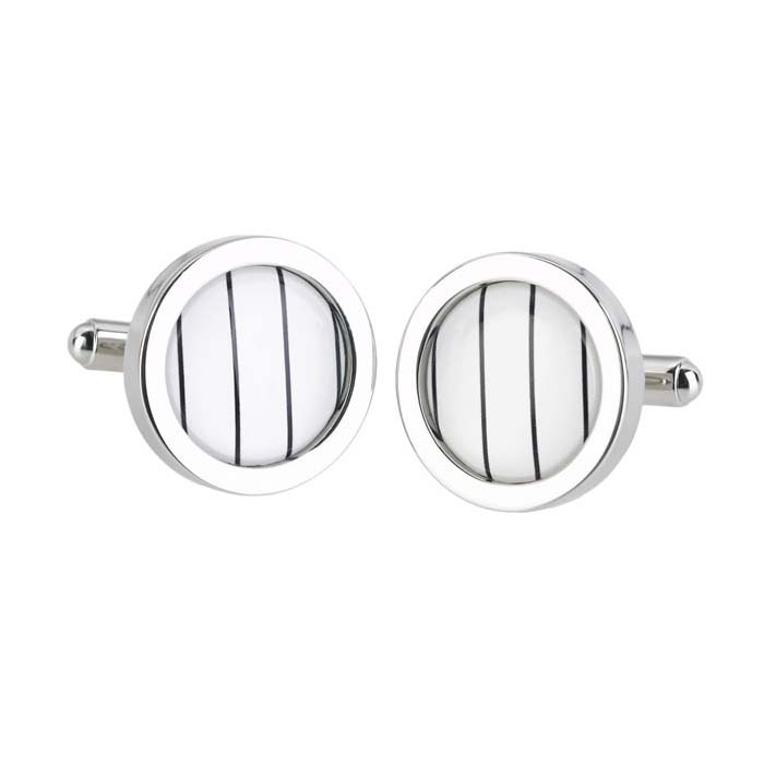 Thin Stripe Circle Cufflinks
