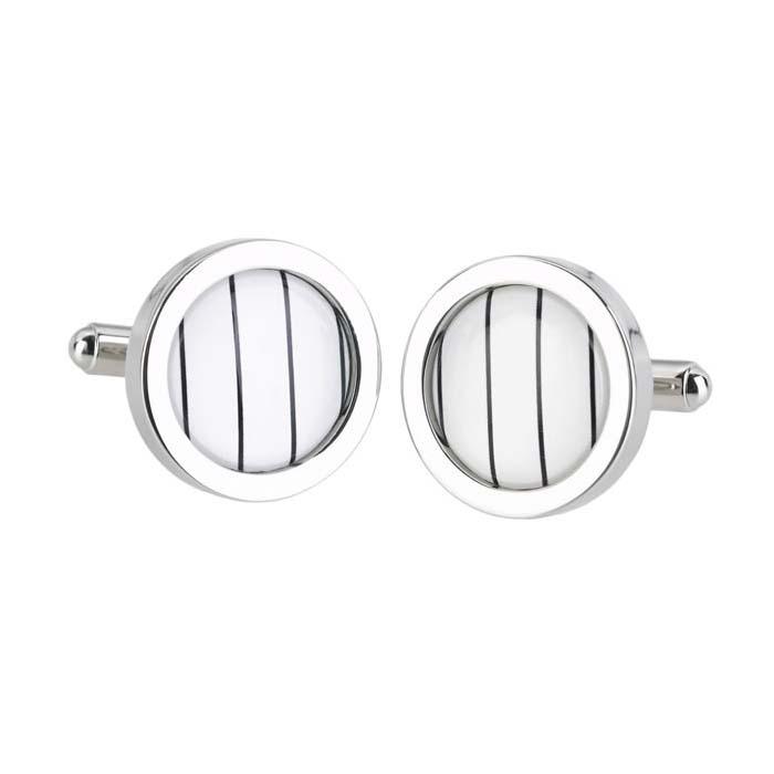 Thin Stripe Circle Cufflinks
