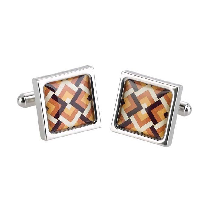 Orange Overlap Diamond Cufflinks