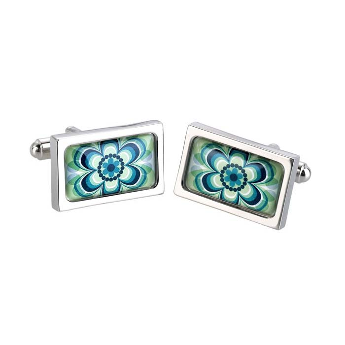 Green Flower Cufflinks