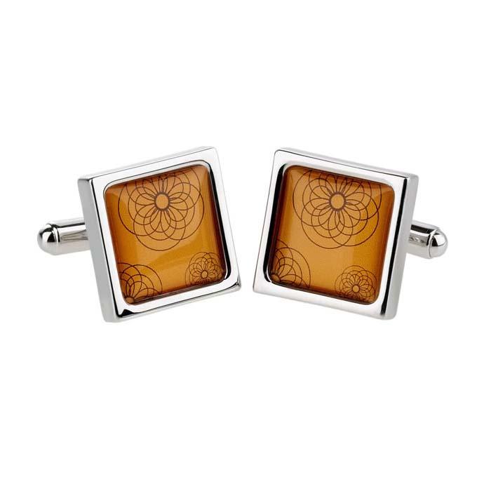 Orange Spiro Cufflinks